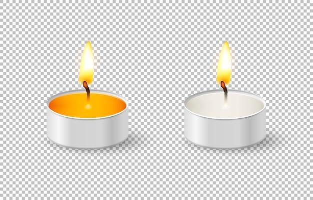 Insieme realistico dell'icona della candela del tealight isolato su fondo trasparente. modello di progettazione cose-up in.