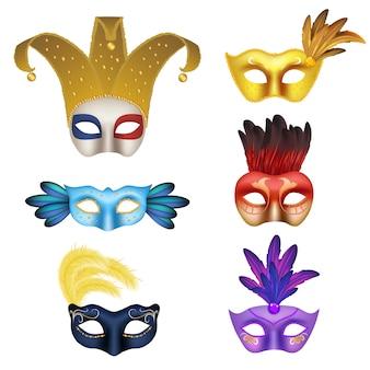 Insieme realistico dell'icona della maschera di carnevale di vettore. maschere fatte a mano di travestimento per l'illustrazione realistica 3d del partito in costume.