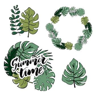 Insieme realistico dell'illustrazione di vettore delle foglie e dei fiori tropicali isolati su fondo bianco.