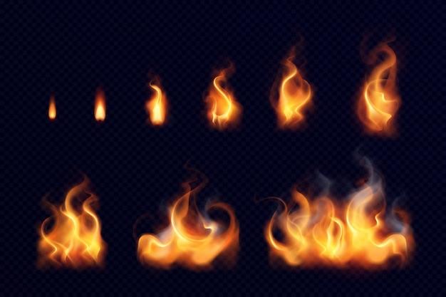 Insieme realistico della fiamma del fuoco di piccoli e grandi elementi luminosi su fondo nero isolato