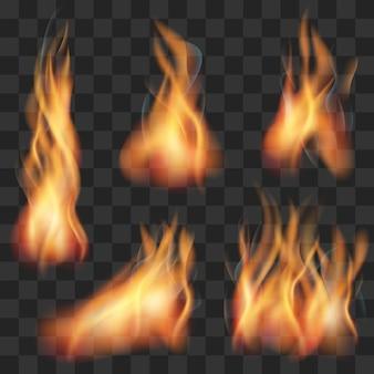 Insieme realistico della fiamma di fuoco trasparente di vettore