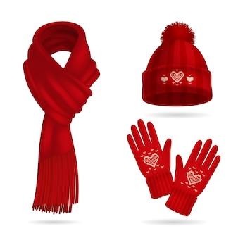 Insieme realistico della maglieria rossa di inverno con il cappello e guanti isolati