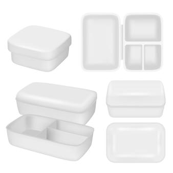 Insieme realistico della scatola di pranzo di plastica vuota bianca