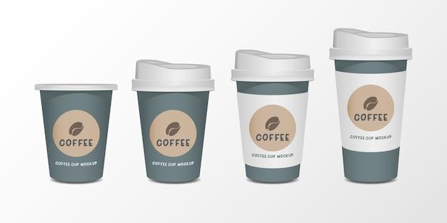 Insieme realistico della tazza di caffè della carta in bianco 3d isolato su fondo bianco