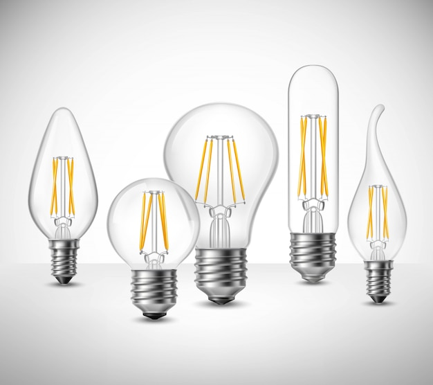 Insieme realistico delle lampadine principali del filamento