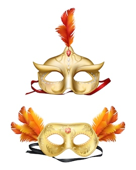 Insieme realistico delle maschere dorate di colombina 3d