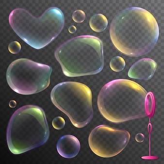 Insieme realistico di bolle di sapone deforme colorate isolate su trasparente