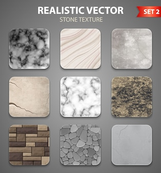 Insieme realistico di campioni di struttura di pietra