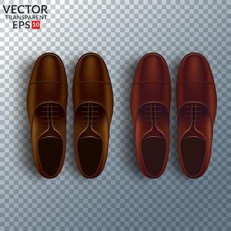 Insieme realistico di cura cosmetica delle scarpe con gli stivali marroni di oxford degli uomini isolati