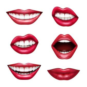 Insieme realistico di emozioni di linguaggio del corpo delle labbra di espressioni della bocca con il rossetto lucido rosso di attenzione del disegno isolato