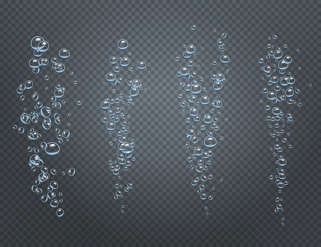 Insieme realistico di flussi frizzanti sottomarini costituito da bolle d'aria ascendenti