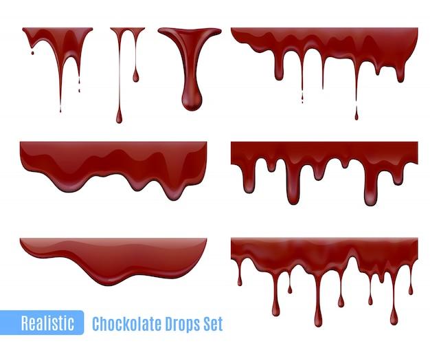 Insieme realistico di gocce di cioccolato gocciolante di fusione