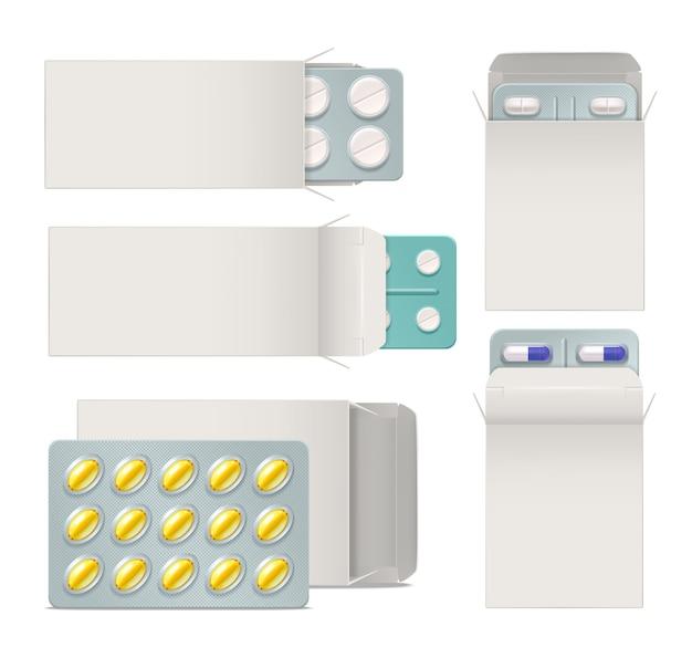 Insieme realistico di imballaggi di carta aperta con blister di pillole e capsule di medicina