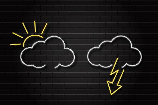 Insieme realistico di insegne retrò al neon per icone meteorologiche sullo sfondo del muro per la decorazione e il rivestimento. concetto di ambiente e clima.