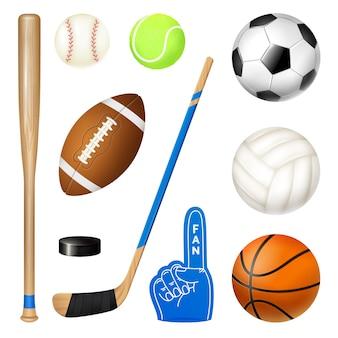 Insieme realistico di inventario di sport