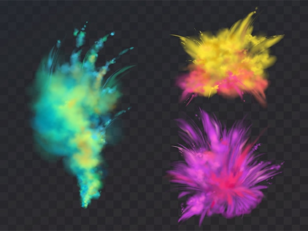 Insieme realistico di nuvole di polvere colorata o esplosioni, isolato su sfondo trasparente.