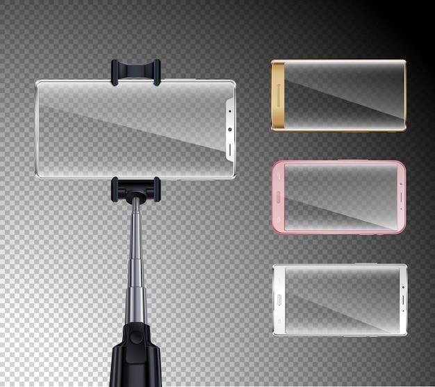 Insieme realistico di tutti gli smartphone dello schermo dell'ultima generazione con l'illustrazione trasparente del fondo delle cornici variopinte del supporto del bastone del selfie
