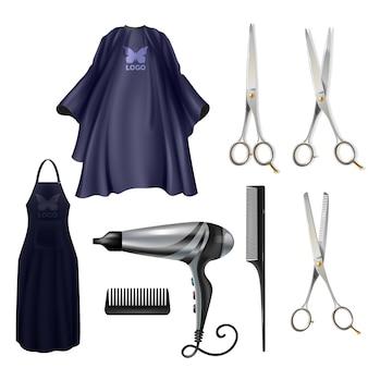 Insieme realistico di vettore degli strumenti dei parrucchieri del barbershop isolato su fondo bianco