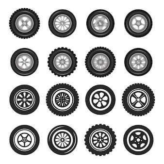 Insieme realistico di vettore della foto dettagliata delle icone delle ruote di automobile.