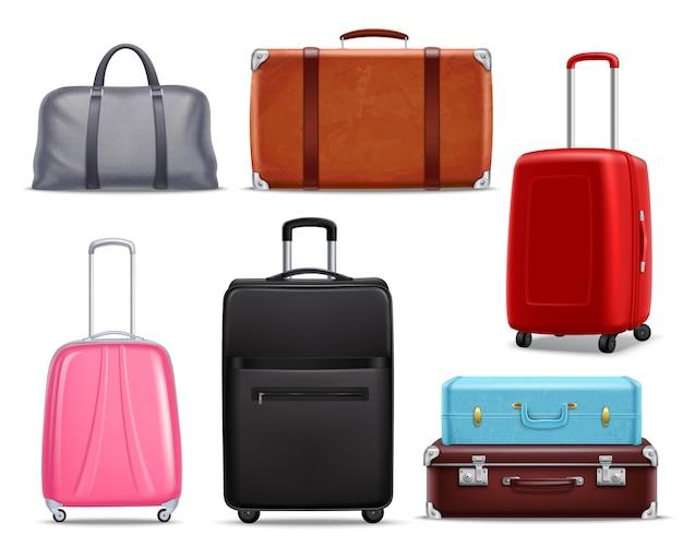 Insieme realistico moderno dei bagagli di viaggio retro
