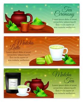 Insieme realistico orizzontale degli accessori di cerimonia del tè del latte di matcha con la polvere organica delle foglie verdi
