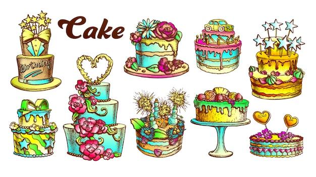 Insieme retro torta deliziosa torta collezione