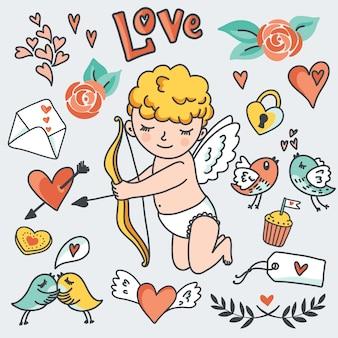 Insieme romantico del fumetto, cupido carino, uccelli, buste, cuori ed elementi.
