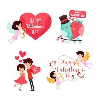 Insieme romantico dell'illustrazione dell'elemento della carta del biglietto di s. valentino felice