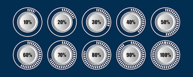 Insieme scuro del caricatore del cerchio del diagramma a barre di progresso di percentuale infographic