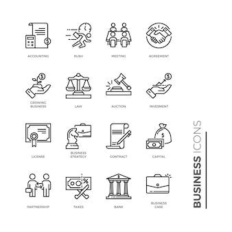 Insieme semplice dell'icona di affari, icone relative alla linea di vettore