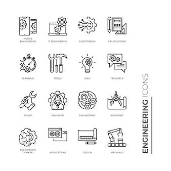 Insieme semplice dell'icona di ingegneria, icone relative alla linea di vettore