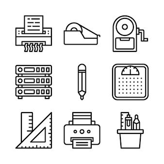 Insieme semplice delle icone della linea di vettore relative all'ufficio.