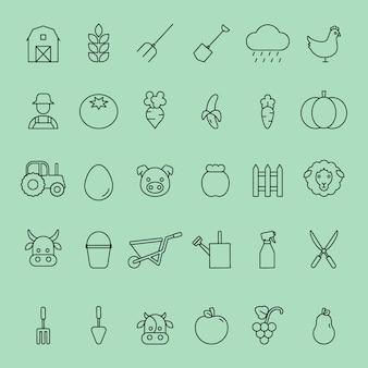 Insieme semplice delle icone di fattoria e animali di linea sottile di vettore