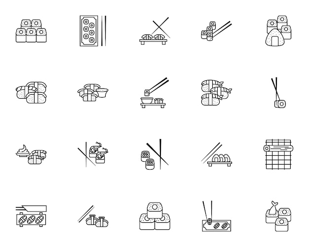 Insieme semplice delle icone relative ai sushi nella linea stile