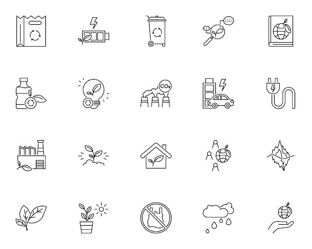 Insieme semplice delle icone relative all'ambiente di ecologia nella linea stile