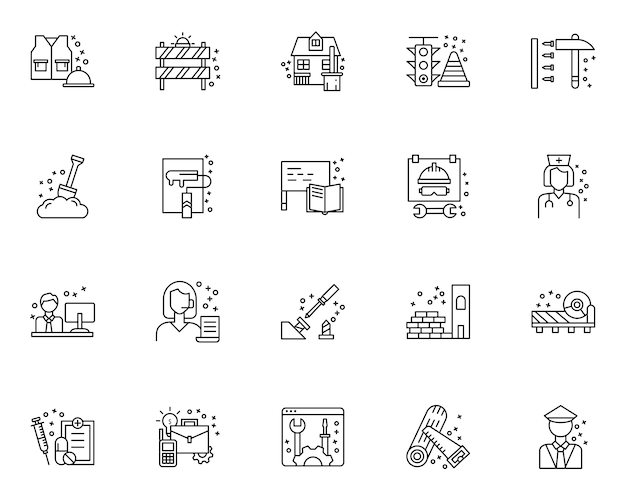 Insieme semplice delle icone relative alla festa del lavoro nella linea stile