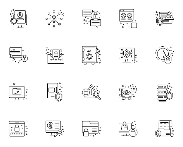 Insieme semplice delle icone relative alla sicurezza informatica nella linea stile
