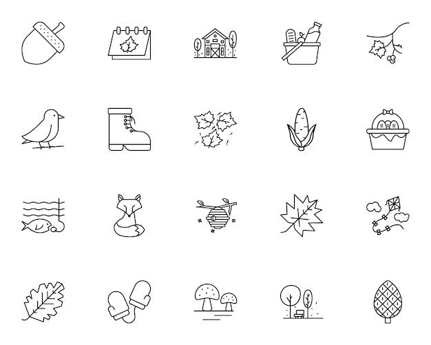 Insieme semplice delle icone relative di autunno nella linea stile