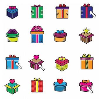 Insieme semplice di icone colorate linea di vettore di regali colorati.