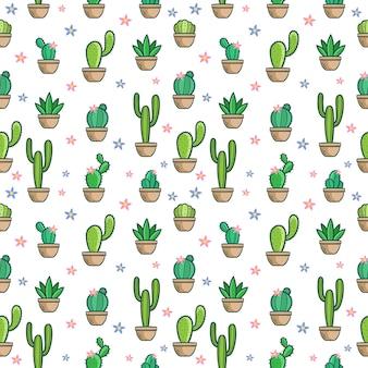 Insieme senza cuciture del modello di doodle del cactus