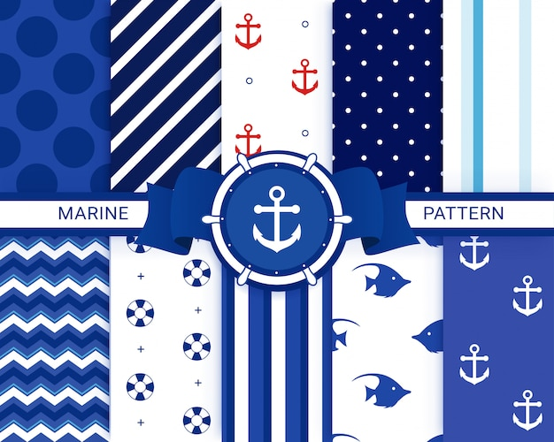 Insieme senza cuciture nautico, marino. modelli di ancoraggio.