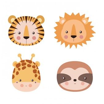 Insieme sveglio del fumetto della giraffa e di bradipo del leone di tigre