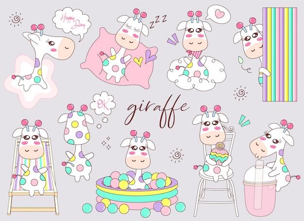Insieme sveglio del fumetto della giraffa