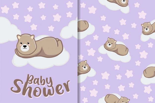 Insieme sveglio del modello del bambino disegnato a mano animale dell'orso di sonno