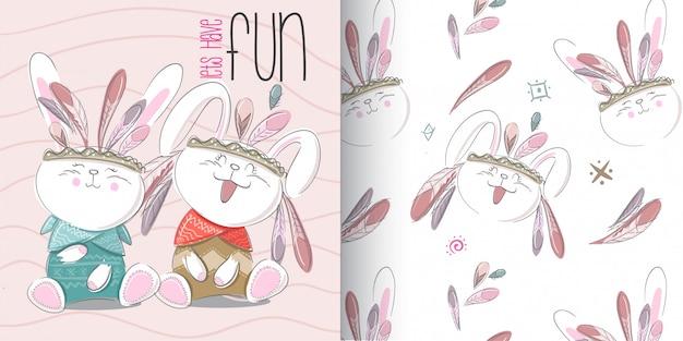 Insieme sveglio del modello del coniglietto, illustrazione-vettore di tiraggio della mano