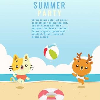 Insieme sveglio del modello del fondo della spiaggia di estate animale animale