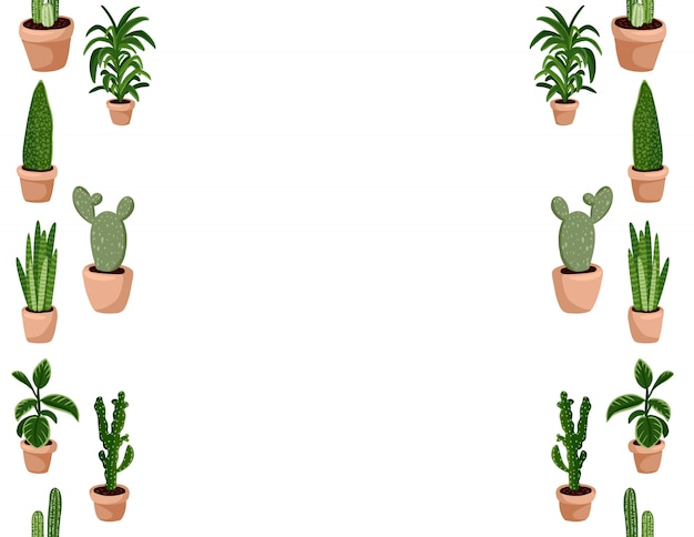 Insieme sveglio del modello senza cuciture delle piante succulente in vaso di hygge.