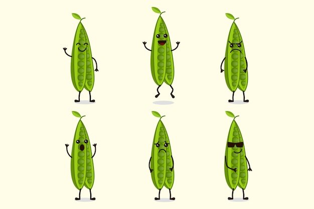 Insieme sveglio dell'illustrazione dell'alimento del carattere dei fagioli verdi