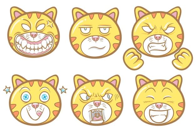Insieme sveglio dell'illustrazione delle emoticon del gatto dell'animale domestico