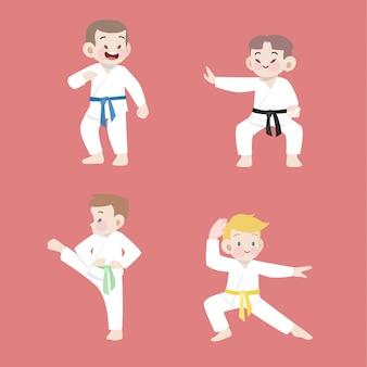 Insieme sveglio dell'illustrazione di karatè di sport dei bambini